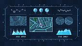 istock Futuristic multi screen gadget panel, Futuristic HUD Holographic Digital City Map, Navigation Animation Night, Navigation city map GPS Navigation, Localization night 1252679281