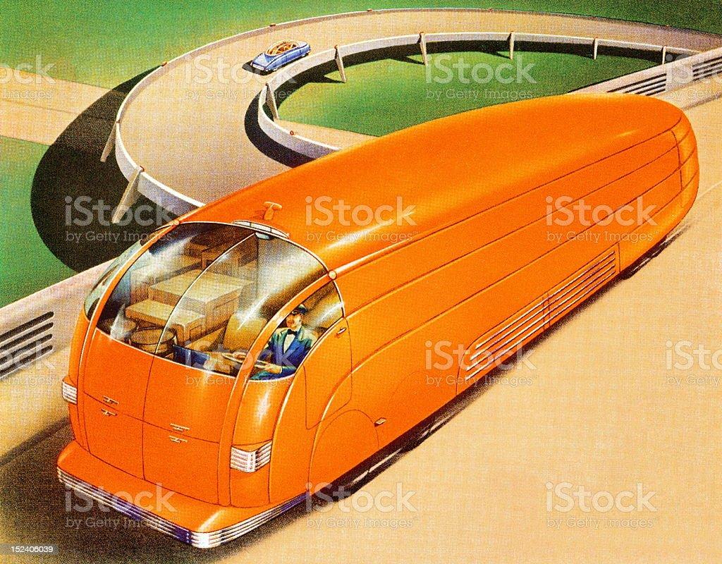 Futuristic Orange Bus royalty-free stock vector art