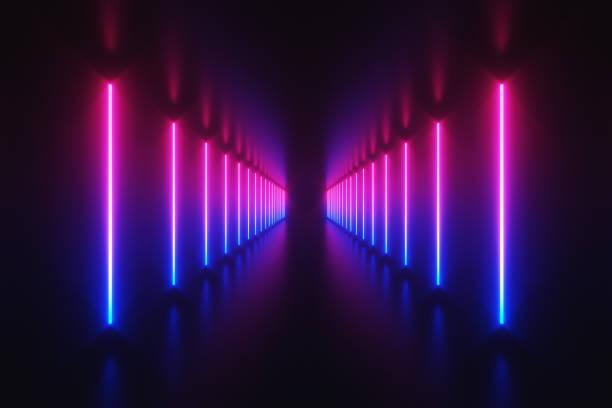 미래의 공상 과학 추상 파란색 및 자주색 네온 빛 모양에 블랙 배경 및 반사 층으로 빈 공간에 대 한 텍스트 3d 렌더링 그림 - 형광등 stock illustrations