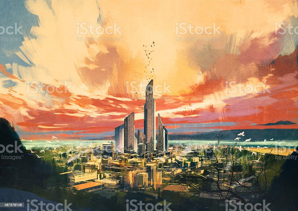 futuristic sci-fi city with skyscraper at sunset vector art illustration