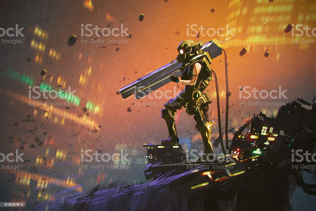 futuristic soldier in yellow suit with gun vector art illustration