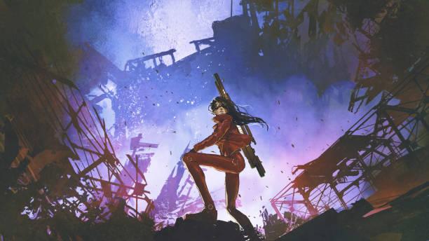 futuristic soldier woman in the dystopian world vector art illustration