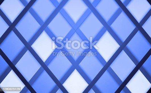 istock Futuristic technology blue gradient metallic texture background with diagonal metal strips. 1280625129