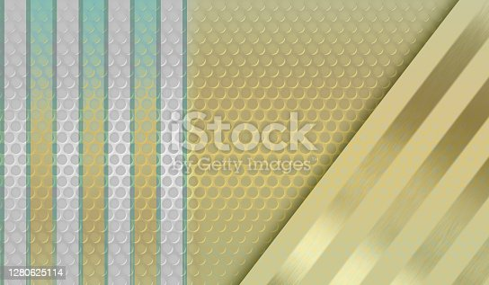 istock Futuristic technology light beige metallic texture background with holes and silver engraved metal strips. 1280625114