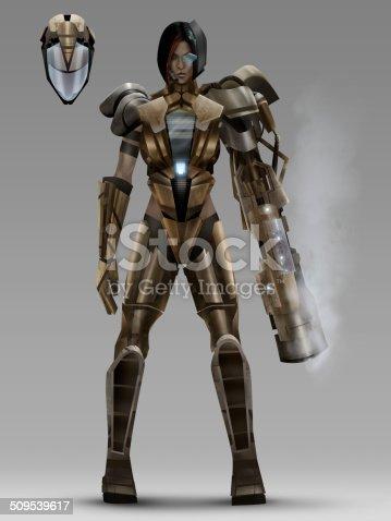 istock Futuristic woman cyber armor costume 509539617