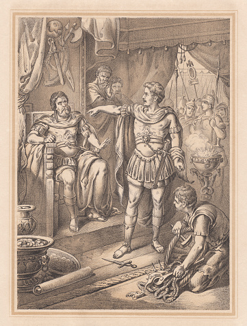Gaius Mucius Scaevola before Clusian king Porsena. After his capture, Mucius thrust his right hand into a fire which was lit for sacrifice and held it there without giving any indication of pain. Porsena, shocked at the youth's bravery, dismissed him from the Etruscan camp, free to return to Rome. It is not clear whether the story of Mucius is historical or mythical. Lithograph, published in 1865.
