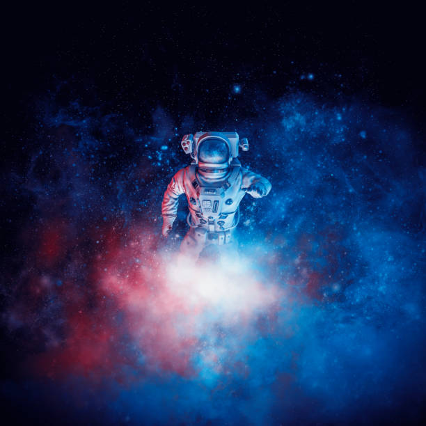 Galactic cloud astronaut vector art illustration