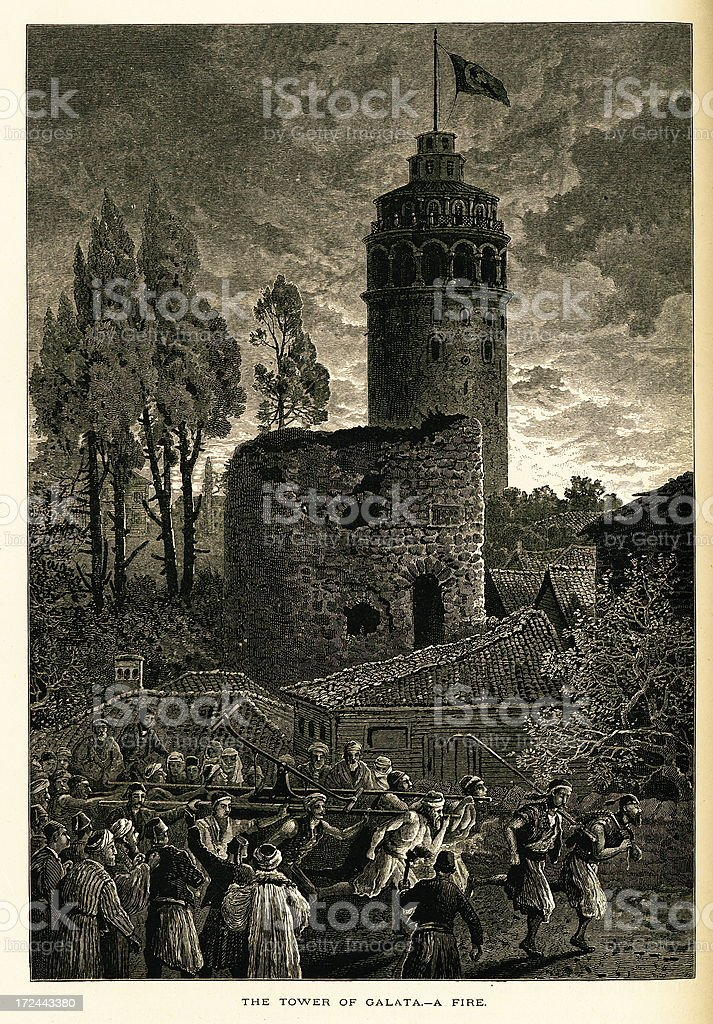 Galata Tower, Constantinople (Istanbul), Turkey royalty-free galata tower constantinople turkey stock vector art & more images of antique