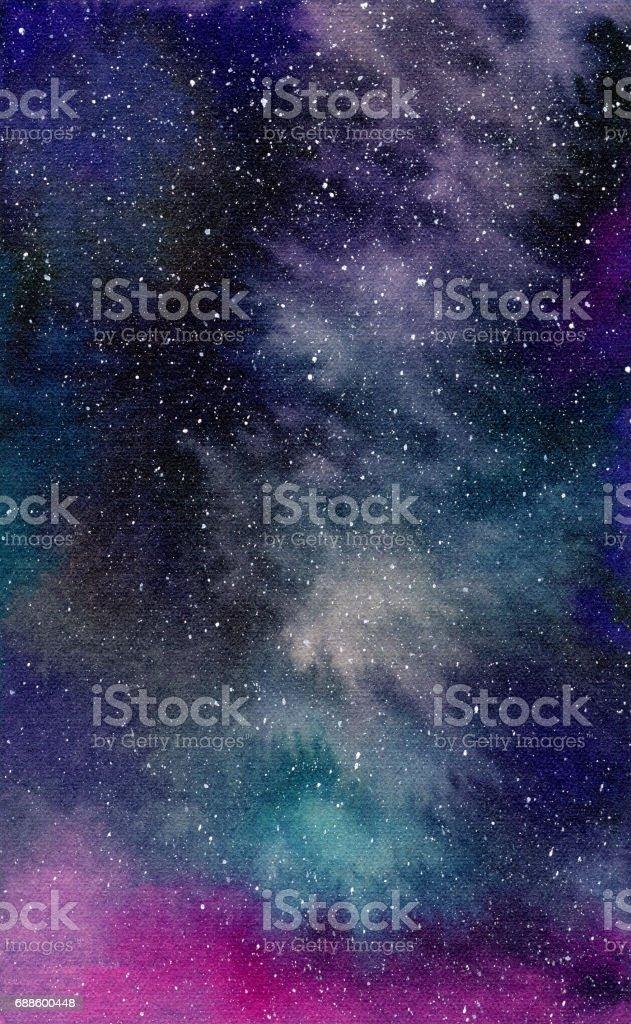 Galáxia, ilustração aquarela - ilustração de arte em vetor