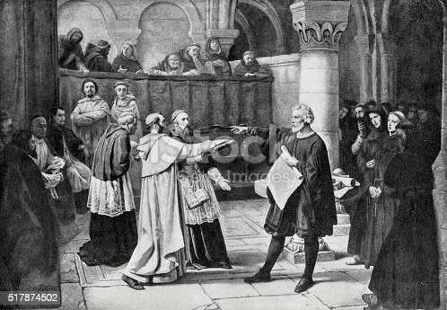 Engraving from 1894 showing Galileo Galilei at the Inquisition in 1633.