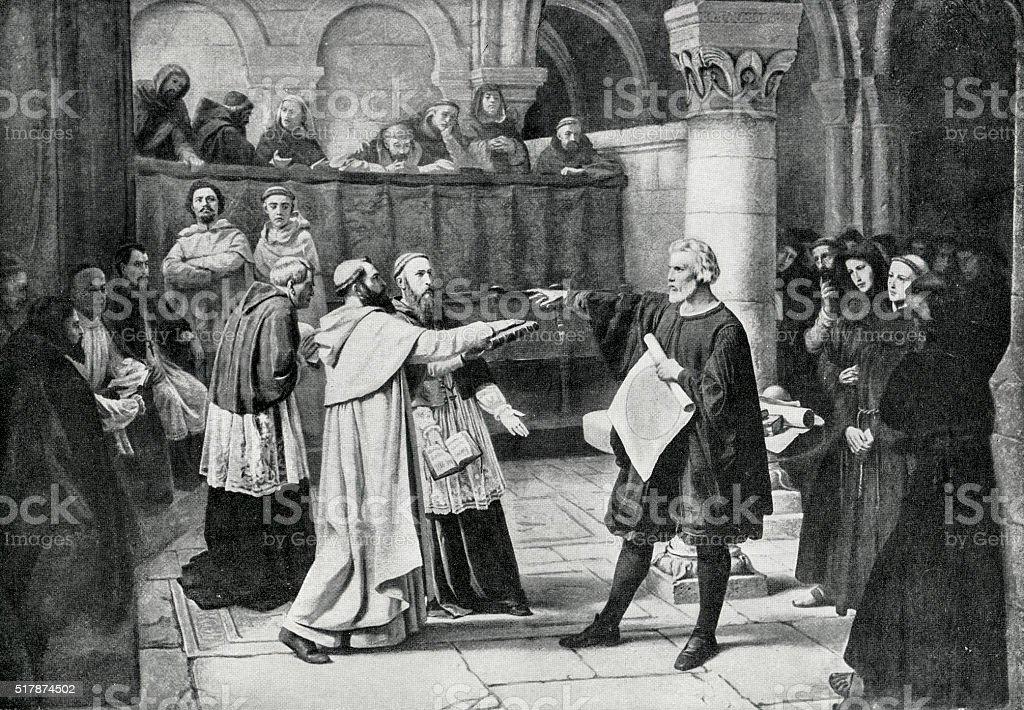 Galileo Galilei At The Inquisition vector art illustration
