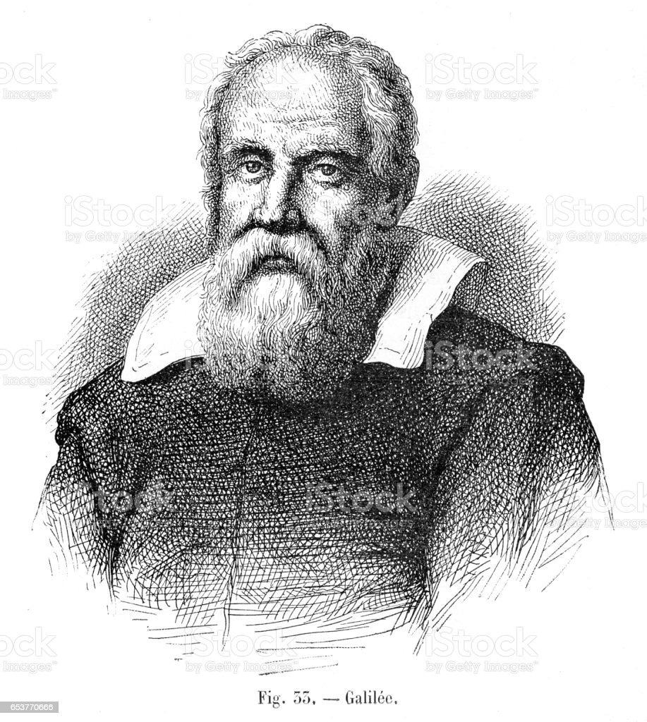 Galileo Galilei gravure 1881 - Illustration vectorielle