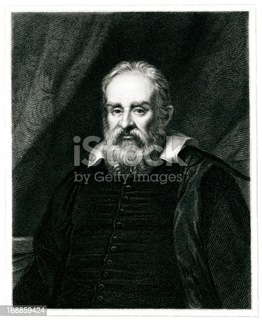 Engraving From 1834 Featuring The Italian Physicist And Astronomer, Galileo Galilei.  Galileo Lived From 1564 Until 1642.