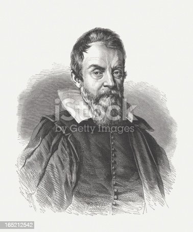 Galileo Galilei (1564 - 1642) was an Italian philosopher, mathematician, physicist and astronomer. He made ground-breaking discoveries in several areas of Sciences. Woodcut engraving after a drawing (1624) by Ottavio Leoni (Italian painter and printmaker, 1578 – 1630), published in 1864.