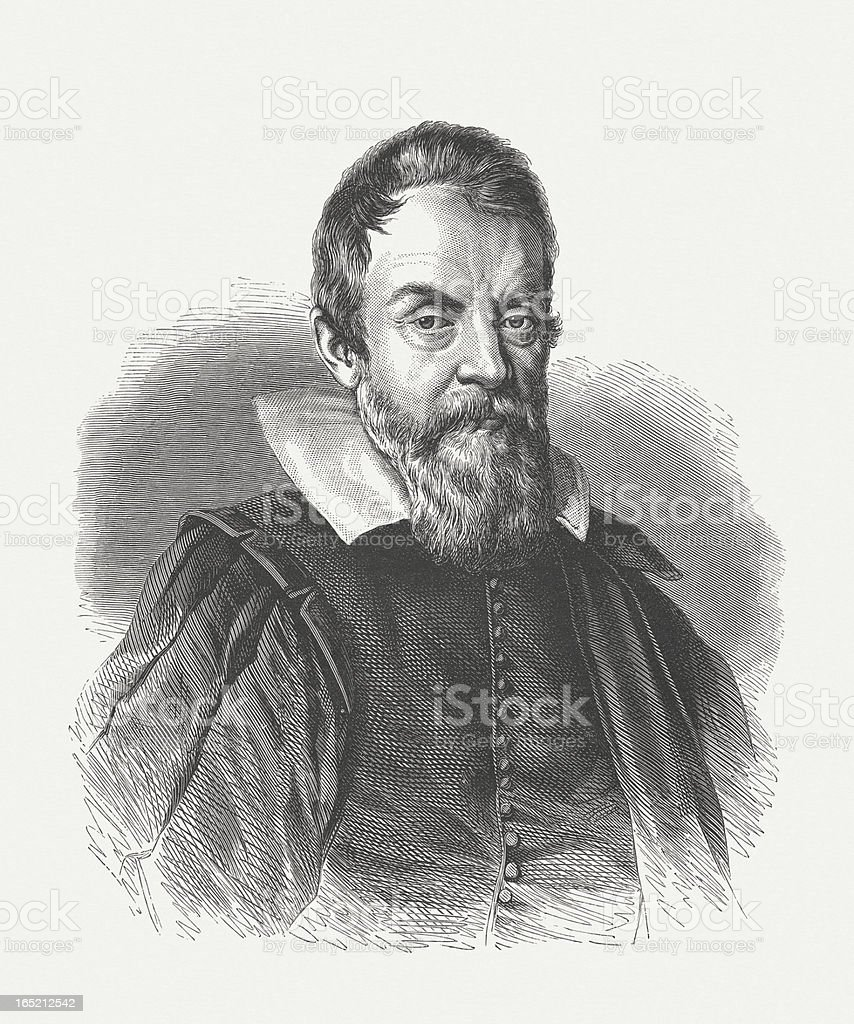 Galileo Galilei (1564-1642), wood engraving, published in 1864 vector art illustration