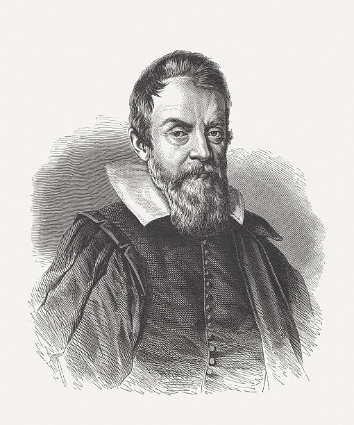 Galileo Galilei (1564-1642), wood engraving, published in 1864 Galileo Galilei (1564 - 1642) was an Italian philosopher, mathematician, physicist and astronomer. He made ground-breaking discoveries in several areas of Sciences. Woodcut engraving after a drawing (1624) by Ottavio Leoni (Italian painter and printmaker, 1578 – 1630), published in 1864. name of person stock illustrations