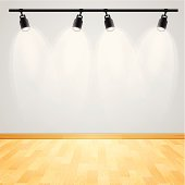 Gallery display track lighting with copy space.