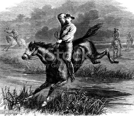 istock Galloping cowboys (Victorian engraving) 170181087
