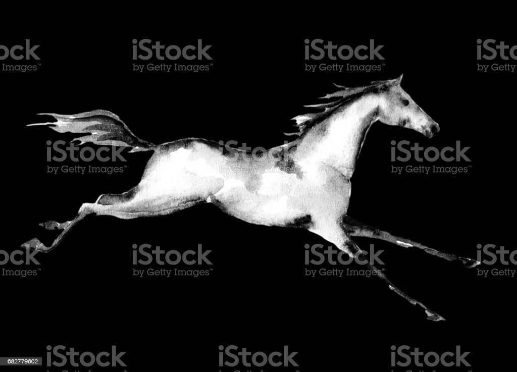 Galloping horse on black background. vector art illustration