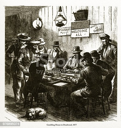 Beautifully Illustrated Antique Engraved Victorian Illustration of Gambling House in Deadwood, Dakota Territory Engraving, 1877. Source: Original edition from my own archives. Copyright has expired on this artwork. Digitally restored.