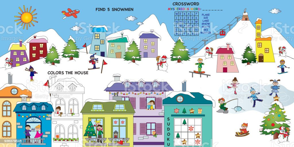 Christmas In Italy Crossword.Game For Children Stock Vector Art More Images Of Christmas Istock
