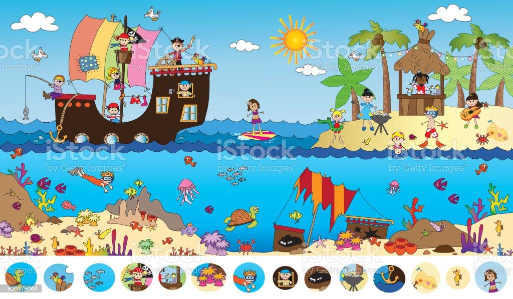 game for children vector art illustration