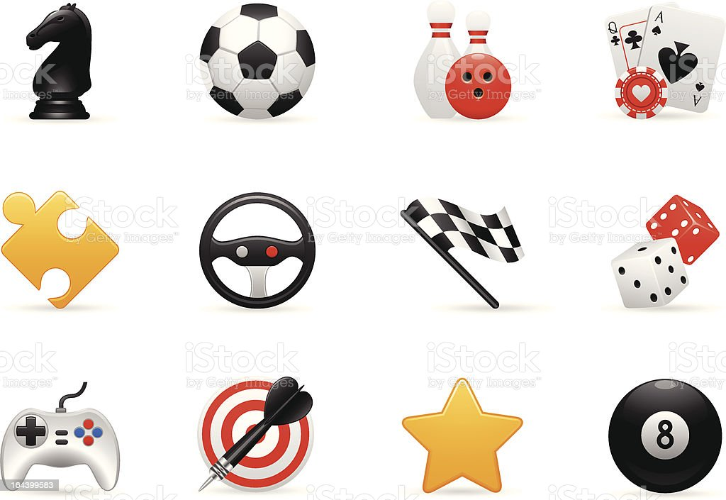 Game Icons Set vector art illustration