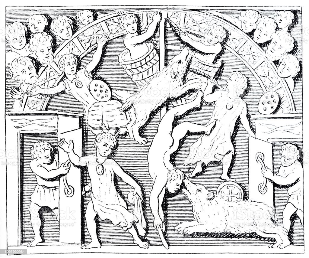 Games With Wild Animals In The Roman Circus Stock Illustration