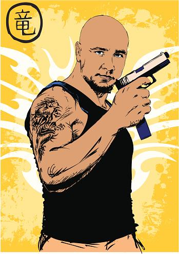 Gang member with gun - Dragon tribal style