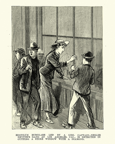 Gang of child thieves breaking into a shop, Los Angeles, Victorian crime 19th Century