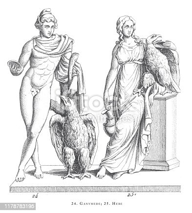 Ganymede, Hebe, Legendary Scenes and Figures from Greek and Roman Mythology Engraving Antique Illustration, Published 1851. Source: Original edition from my own archives. Copyright has expired on this artwork. Digitally restored.