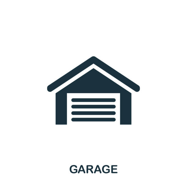 Garage creative icon. Simple element illustration. Garage concept symbol design from real estate collection. Can be used for web, mobile and print. web design, apps, software, print. Garage creative icon. Simple element illustration. Garage concept symbol design from real estate collection. Can be used for web, mobile and print. web design, apps, software, print vehicle door stock illustrations