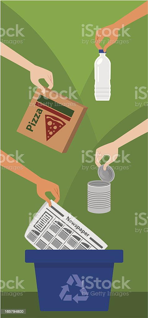 Garbage recycle with bin royalty-free stock vector art