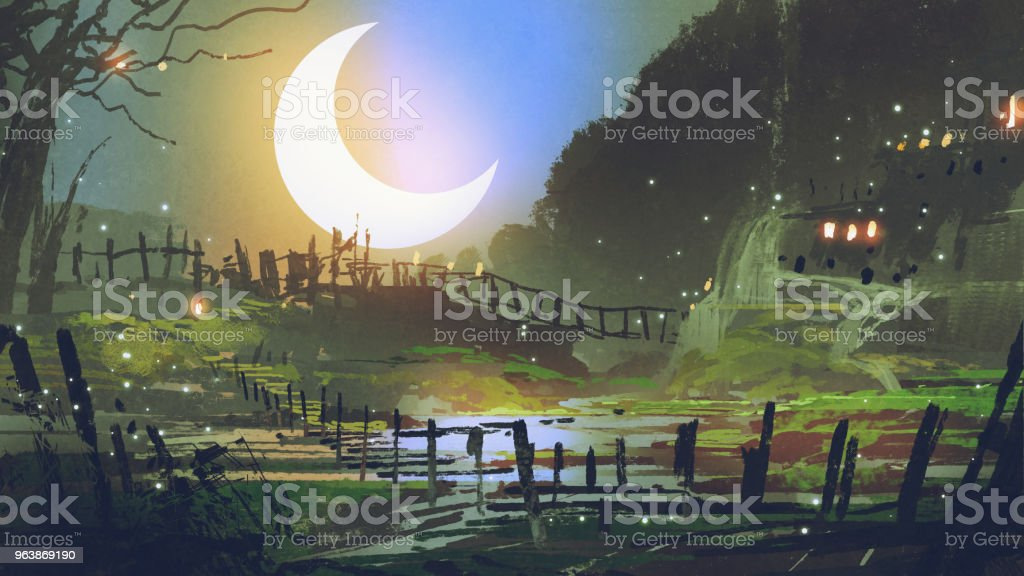 garden at night with big crescent moon - Royalty-free Acrylic Painting stock illustration