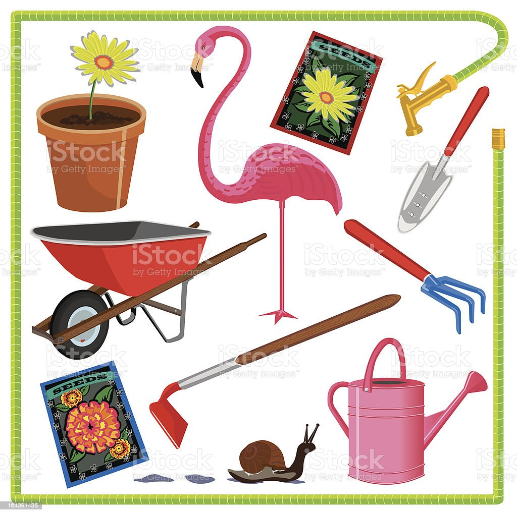 Garden Elements and Icons royalty-free stock vector art