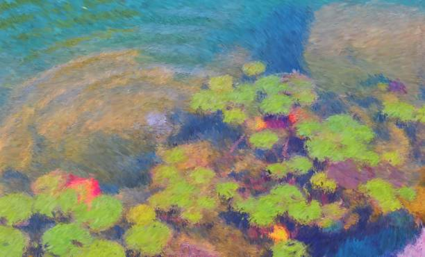 Garden pond with lilies in the style of impressionism. Garden a picturesque pond with water lilies in the style of impressionism with copy space for text. impressionism stock illustrations