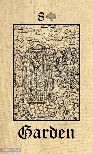 Garden. Tarot card from Lenormand Gothic Mysteries oracle deck.