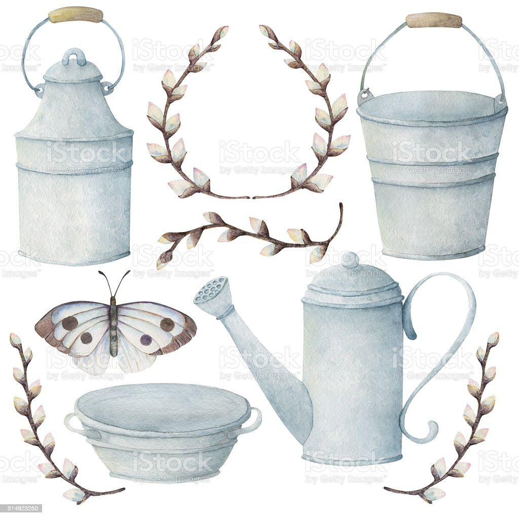 Garden tools with buttrefly and brunches of willow vector art illustration