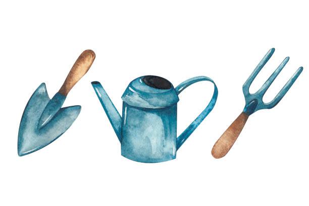 Garden watercolor set vector art illustration