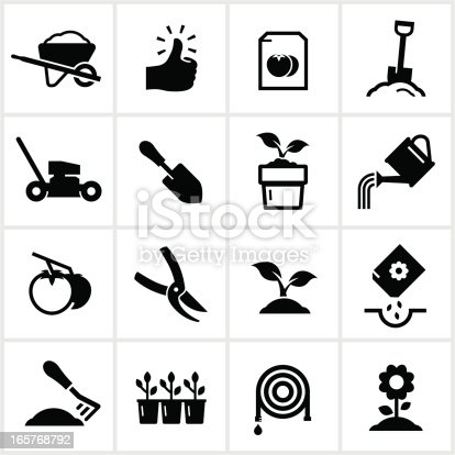Gardening themed icons. All white strokes/shapes are cut from the icons and merged.