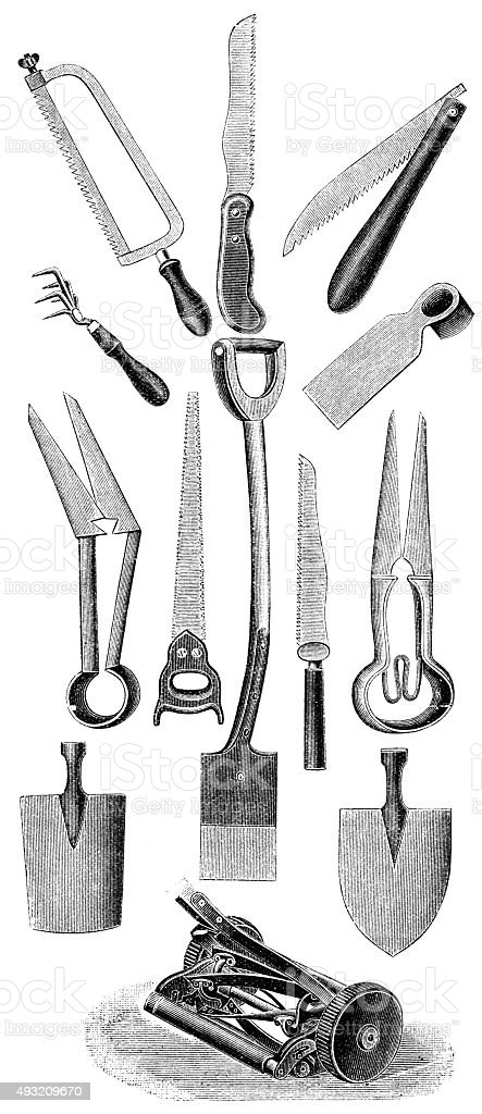 gardening equipment vector art illustration