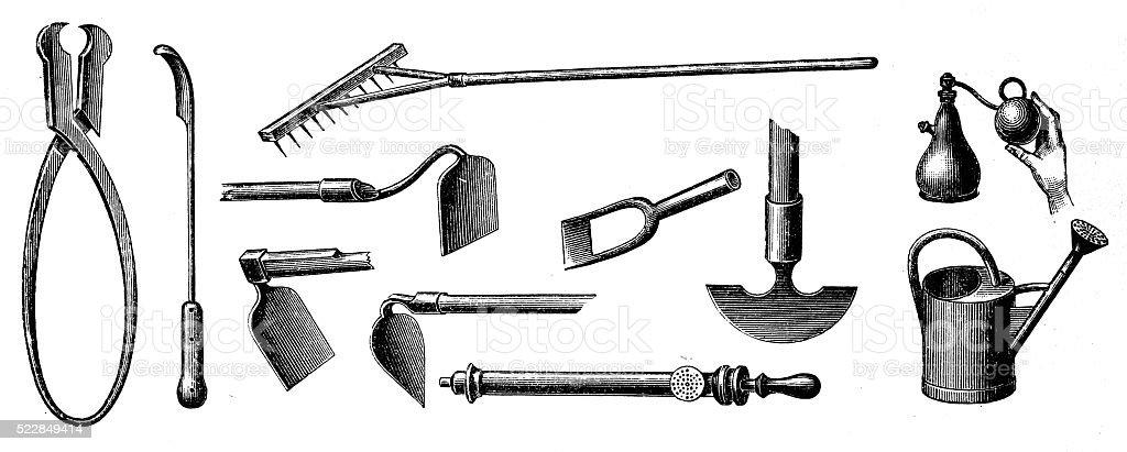 Gardening equipment vector art illustration