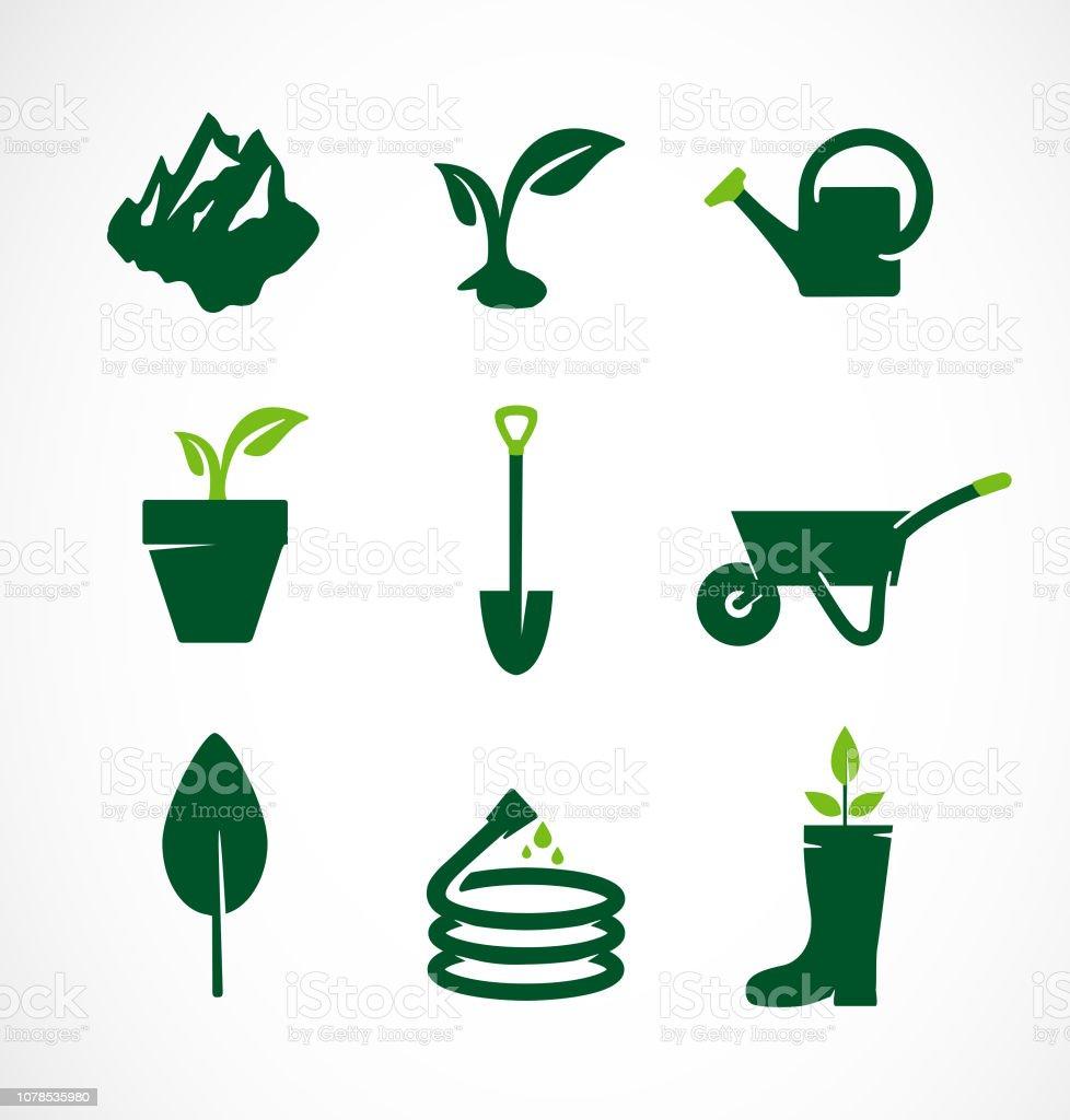 Jardinage Jeu Dicônes Outils De Jardin Vecteurs libres de ...