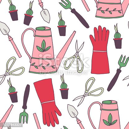 Gardening seamless pattern, vector illustration, with gloves,boots,onions of flower. Fabric design.
