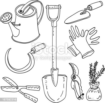 Gardening tools collection stock vector art more images for Gardening tools drawing with names