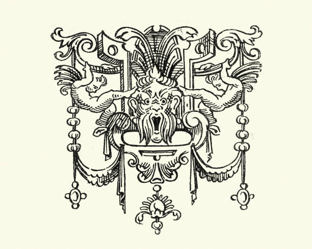 illustrazioni stock, clip art, cartoni animati e icone di tendenza di gargoyle design element 19th century - gargoyle