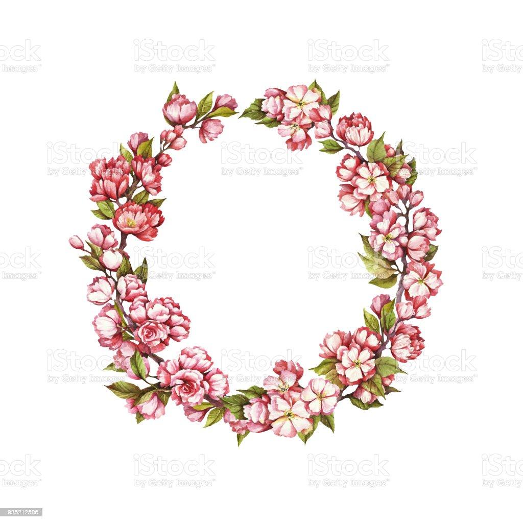 Une Guirlande De Fleurs De Cerisier Main Dessiner Illustration