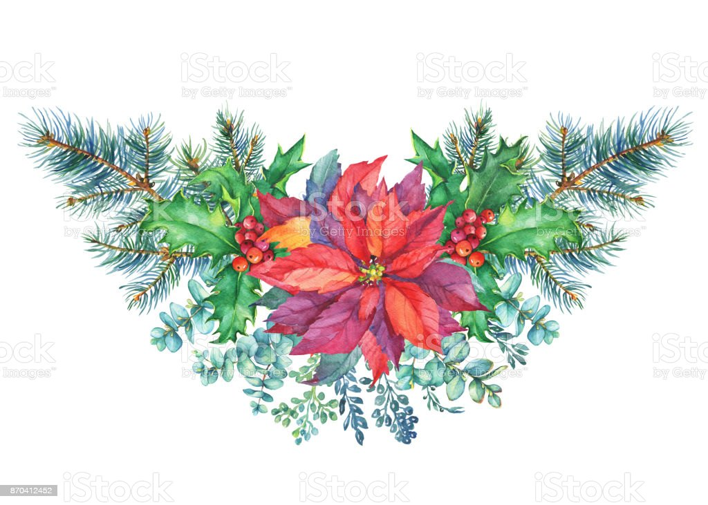 garland with a christmas tree holly poinsettia christmas decoration greeting card