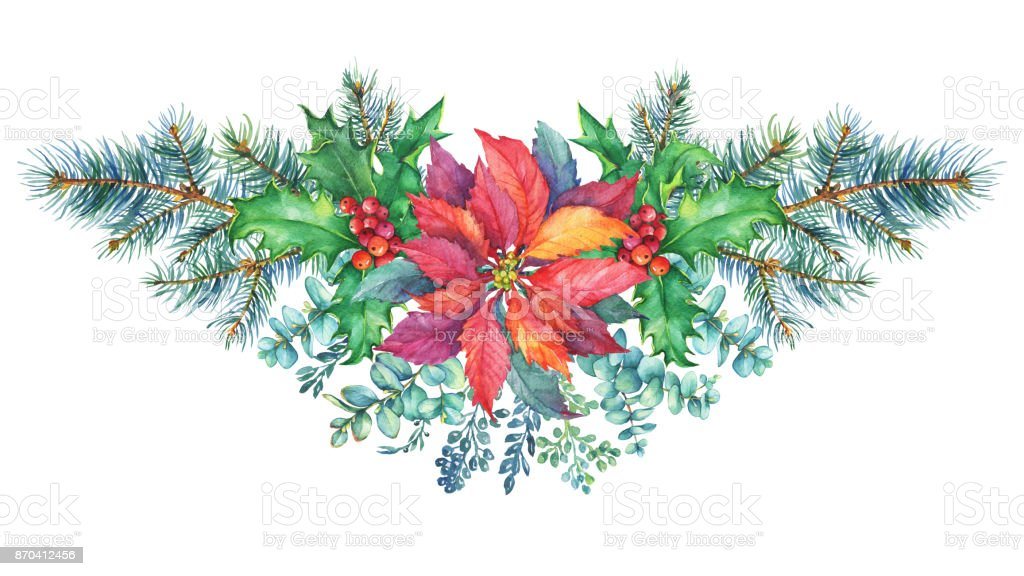 garland with a christmas tree holly poinsettia christmas decoration greeting card - Poinsettia Christmas Decorations