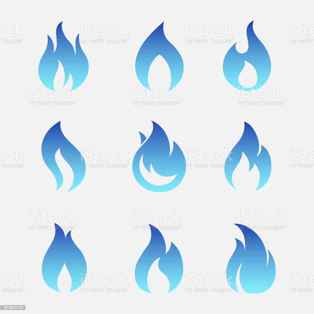 Gas flames vector icons vector art illustration